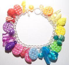 Kitschy Rainbow Polka Dot Button Charm Bracelet  £10.00