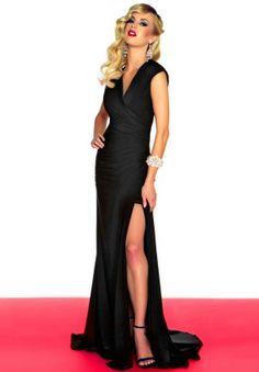 V Neck Backless Black Evening Dress with Sexy Slit