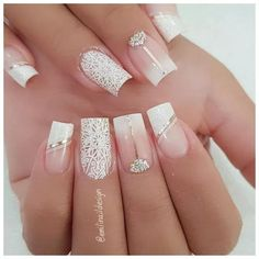 Nail art Christmas - the festive spirit on the nails. Over 70 creative ideas and tutorials - My Nails Cute Acrylic Nails, Acrylic Nail Designs, Cute Nails, Pretty Nails, Nail Art Designs, My Nails, Pink Nails, Gorgeous Nails, Wedding Nails For Bride
