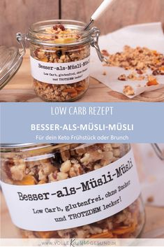 Low carb muesli - You want to eat low carb, but breakfast is a big challenge every time? Then the homemade muesli wit - Low Carb High Fat, Low Carb Keto, Low Carb Recipes, Juice Recipes, Muesli, Low Carb Cereal, Law Carb, Homemade Cereal, Homemade Baby