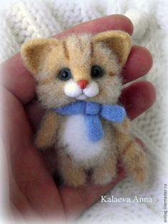 Купить Котик в голубом шарфике,брошь - рыжий, кот, котик, котик брошь, котик из шерсти