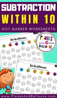 Subtraction from 10 worksheets - Planes & Balloons | Let's make learning fun! Subtraction Kindergarten, Addition And Subtraction Worksheets, Kindergarten Math Activities, Educational Activities, Maths, Math Workshop, Free Math, Math Centers, Fun Learning