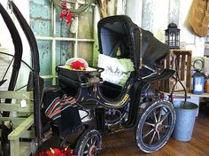 I adore this Rare Victorian Child's Carriage that just came in this morning. An expert has authenticated this precious piece & commented on what a treasure it is to find one in such excellent, original shape in a very hard to find small size. www.oldtownvillageantiques.com