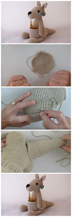Crochet Patterns Girl IF you are looking how to Crochet Kangaroo Amigurumi, we have one of the long an… Crochet Hook Set, All Free Crochet, Crochet Baby, Crochet Amigurumi, Crochet Dolls, Crochet Designs, Crochet Patterns, Henna Patterns, Doll Patterns