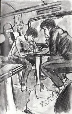 https://flic.kr/p/GdvkHn | Fatxendas al tren | Sketching amb risc 8))
