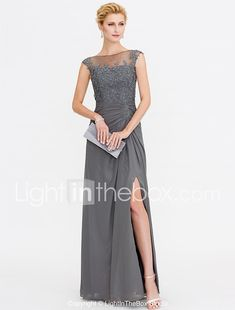 A-Line Bateau Neck Floor Length Chiffon Lace Mother of the Bride Dress with Lace Pleats by LAN TING BRIDE® 2018 - $119.99