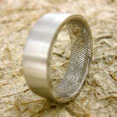 Fingerprint Wedding Band 14K White Gold 7mm Wide Size 10 Flat Ring Profile Smooth Matte Finish Personalized Custom. $1,540.00, via Etsy.