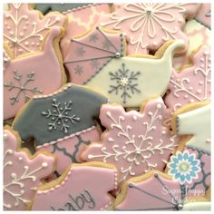 """""""Baby it's Cold Outside"""" baby shower sugar cookie favors, girl. Pink snowflakes. Pink and silver sugar cookies."""