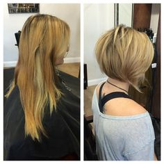 Before after long hair to a line bob cut
