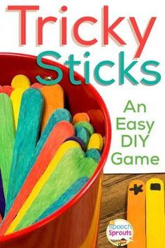 Tricky Sticks- Make this Super-Easy Speech Therapy Game for next to nothing-. It's a quick-play motivational game and fun for a range of ages. See how on Speech Sprouts blog. http://www.speechsproutstherapy.com
