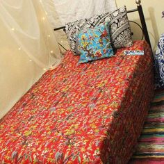 """Red Bird Quilt This Beautiful Kantha Bedspread is made with cotton and natural vegetable colors. These Kantha Quilt are made by our craftsman in India. The stitches over it is called """"Kantha sticth"""". Kantha stitch is famou Boho Bedding, Bedspread, Kantha Quilt, Quilts, Cheap Room Decor, Bird Quilt, Bohemian Style Bedrooms, Kantha Stitch, King Queen"""