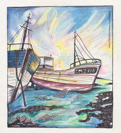 Boten op het strand. Ships on the coast. Tekening met inkt en kleurpotlood. Drawing with ink and pencil. www.fotootjevandaag.wordpress.com