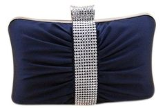 Price: $29.99 | Chicastic Satin Hard Box Cocktail #Clutch Purse with Rhinestone Panel & Closure   | Color: Navy Blue |          Rhinestone Studded Clutch,     Cocktail Purse,     Hard Box Clutch,     Measures - Length = 6 in * Height = 7.5 in * Width = 1 in,