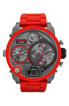 Free shipping and returns on DIESEL® 'Mr. Daddy' Time Zone Watch, 58mm at Nordstrom.com. A gigantic, statement-making watch boasts four time zones and both digital and analog time for an ultra-modern look. A sporty silicone-wrapped bezel and matching strap temper the industrial design.