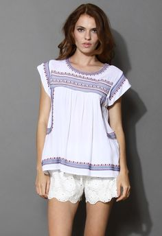 Tribal Boho Embroidered Top - Retro, Indie and Unique Fashion