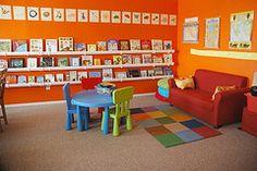 Books facing forward--Rain gutter shelves