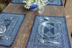 Set your table in beautiful ethnic style. Displaying intricate detailing in traditional style. These Hmong indigo batik placemats are created