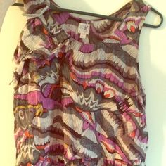 Edme & esyllte flowy top used sz 8 Beautiful taupe, olive, purple ivory and orange pattern. Asymmetrical cut at bottom. Slips on. Size 8. Cotton and silk Edme & esyllte Tops Blouses