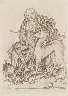 Wild Woman and Unicorn, playing card / Master ES / Engraving, Germany, century / The Metropolitan Museum of Art Arte Obscura, Mystique, Medieval Art, Medieval Life, Classic Image, 15th Century, Ancient Art, Mythical Creatures, Metropolitan Museum