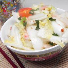 Baek Kimchi (White Kimchi) Homemade Refrigerator Pickles, Refrigerator Pickle Recipes, Watermelon Pickles, Watermelon Rind, White Kimchi Recipe, Quick Pickled Radishes, Pickled Peaches, Vegetarian Cabbage, Napa Cabbage