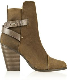 Rag & bone Kinsey leather-trimmed waxed-suede ankle boots on shopstyle.com
