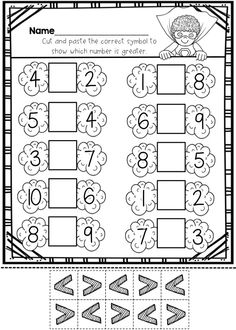 Greater than less than:  This is one page out of this printable practice set!  Lots of practice with numbers 1-10 and 1-20! $