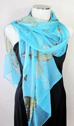 Amazon.co.jp: 【半額】蝶々柄100%シルクロングスカーフ  0693: 服&ファッション小物
