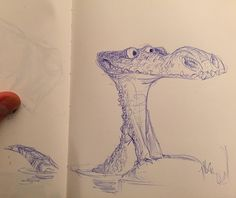Today's daily doodle.  #ballpointpen #animalart #crocodile #character #personality #story