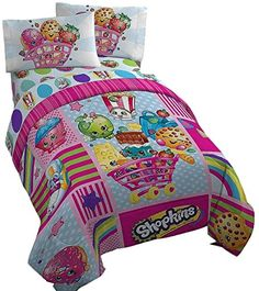 Adorable #Shopkins #Twin #Bedding in vibrant fun looking colors.  Your little Shopkins fan will love this bedding set.