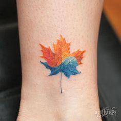 Canada + Korea :-) - #타투 #그라피투 #타투이스트리버 #디자인 #그림 #디자인 #아트 #일러스트 #tattoo #graffittoo #tattooistRiver #design #painting #drawing #art #Korea #KoreaTattoo #mapleleaf