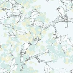 A pretty design of hand sketched birds perched on branches. In duck egg greens and blue. Tier Wallpaper, Animal Wallpaper, Wallpaper Roll, Wallpaper Patterns, Work This Out, Buy Wallpaper Online, Hand Sketch, Scandinavian Design, Geometric Shapes