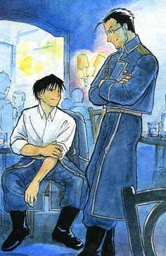 One of the best friendships I've ever seen in anime: Mustang and Hughes Fullmetal Alchemist Brotherhood, Der Alchemist, Alphonse Elric, Roy Mustang, Fangirl, Edward Elric, Ghost In The Shell, Good Manga, Me Me Me Anime