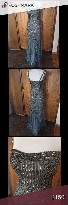 Beautiful Adrianna Papell Beaded Prom Dress All over beading, Very minor loose beads on top & straps - barely noticeable, fully lined, Removable straps, Alterations made: bra sewed into dress (could easily be taken out), Only worn twice, Size 8 Adrianna Papell Dresses Prom