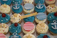 Nautical Theme 21st Birthday Cupcakes Nautical Theme Cupcakes, Themed Cupcakes, Fun Cupcakes, 21st Birthday Cupcakes, Birthday Parties, Personalised Cupcakes, Party Themes, Party Ideas, Cupcake Decorations