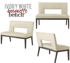This bench offers an ultra-modern extend with the help of a daring sculptural cut-out and a widening to settee size. The convenience factor, on the other hand, has not altered. Long lasting faux leather in rich and creamy ivory is expanded tight over 100% foam cushioning on the back and seat for optimum sit-ability. Carefully tapered solid wood legs and base offers stableness as well as contrast. Banquette Bench, Dining Bench, Mid Century Modern Furniture, Contemporary Furniture, White Bench, Foam Cushions, Settee, Hollywood Regency, Interior Styling