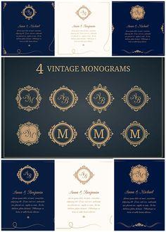 Wedding invitations with vintage monograms vector set