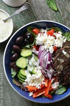 Greek Salad Bowls with Spiced Lamb Burgers   anediblemosaic.com