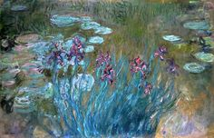 Irises and Water Lilies - Claude Monet
