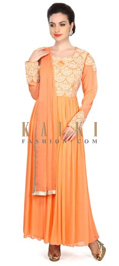 Buy Online from the link below. We ship worldwide (Free Shipping over US$100) Price- $189 Click Anywhere to Tag http://www.kalkifashion.com/peach-anarkali-suit-embellished-in-thread-and-pearl-embroidery-only-on-kalki.html