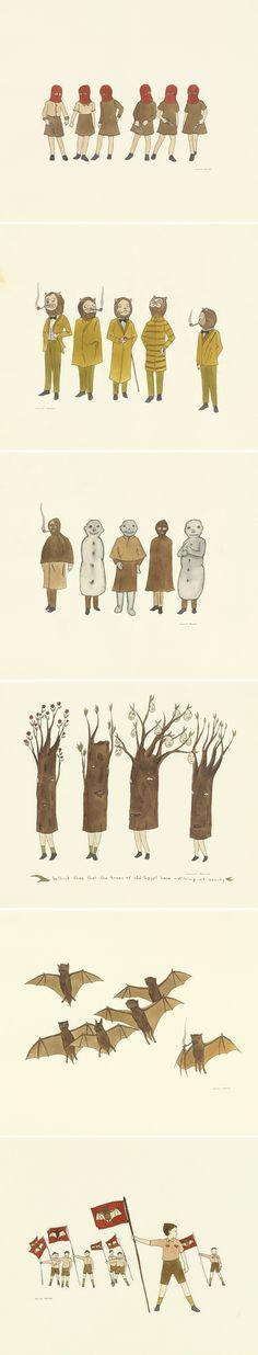 drawings by Marcel Dzama