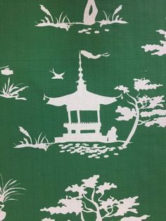 An emerald green solid background with white silhouettes of people, pagodas, and foliage. This fabric is a medium weight fabric and is suitable for upholstery, window treatments, bedding, and pillows.
