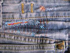 mending...I like the idea of mending patches of jeans with knitwear