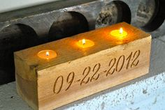 Engraved Wood Block Table Decoration Centerpiece - Wedding Keepsake. $30.00, via Etsy.