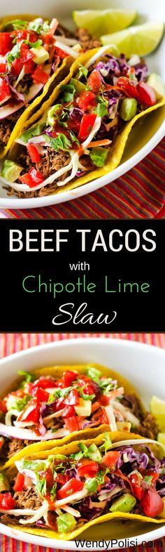 Beef Tacos with Chipotle Lime Slaw #raiseyourmitt #familymealsmonth #ad