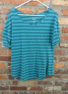 $12.95 Womens Old Navy Blue Stripe Rolled Sleeves One Pocket Top Shirt Size: Large Tall Free Shipping