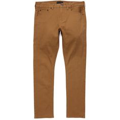 Bullhead Denim Co. Dark Khaki Twill Skinny Jeans ($50) ❤ liked on Polyvore featuring jeans, men, jean, super stretch jeans, zipper skinny jeans, zipper jeans, stretch jeans and brown jeans