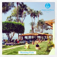 #MorningGym at our #Seafront #Garden at the New Poseidonia Beach Hotel !Our newly face lifted #WanaxBeachBar is in the background...#KeepingFit while having #Fun & enjoying the #vacation under the #sun...#Cyprus #limassol #Beachhotel #tan #sports #healthylifestyle