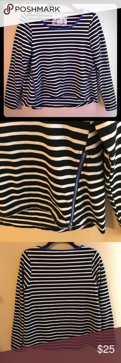 Anthropologie top Excellent condition! No pilling! Slight hi lo design. Super cute and trendy zippers in the front. Live the pop of blue at the neckline and zippers! Anthropologie Tops