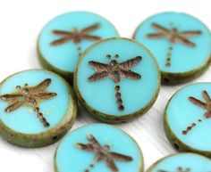 4pc Turquoise Dragonfly beads, picasso czech glass beads, table cut, round, tablet shape - 17mm - 2538 by MayaHoney on Etsy