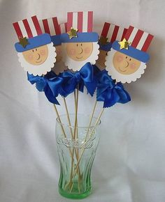 Uncle Sam On A Stick! – Cards and Paper Crafts at Splitcoaststampers Uncle Sam On A Stick! Paper Punch Art, Punch Art Cards, Patriotic Crafts, July Crafts, Patriotic Party, 4th Of July Party, Fourth Of July, Holiday Fun, Holiday Crafts